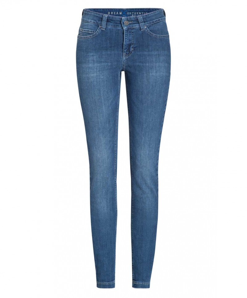 Mac Dream Skinny Authentic Jeans - Mid Blue Dirty Used