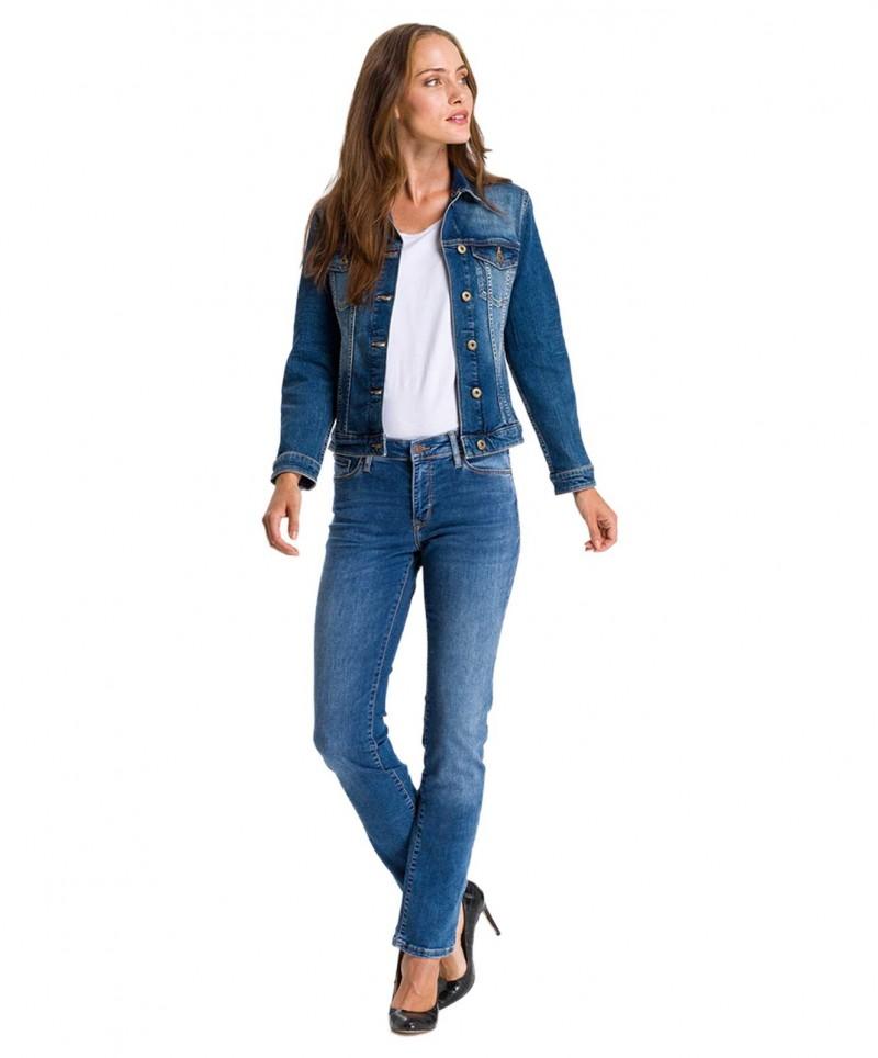 Cross Anya - Dunkelblaue Slim-Fit-Jeans mit erhöhtem Bund
