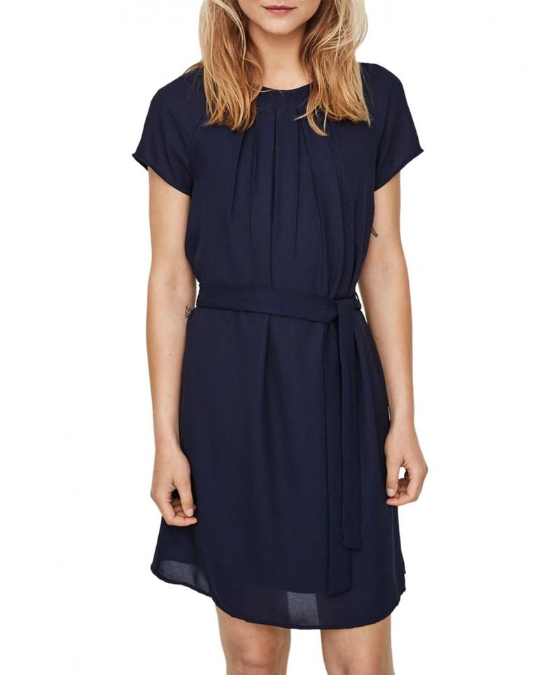 VERO MODA NELLI - Feminines Kleid - Dunkelblau - Vorne