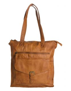 Pieces Cabby - Shopper Tasche aus Leder in hellbraun