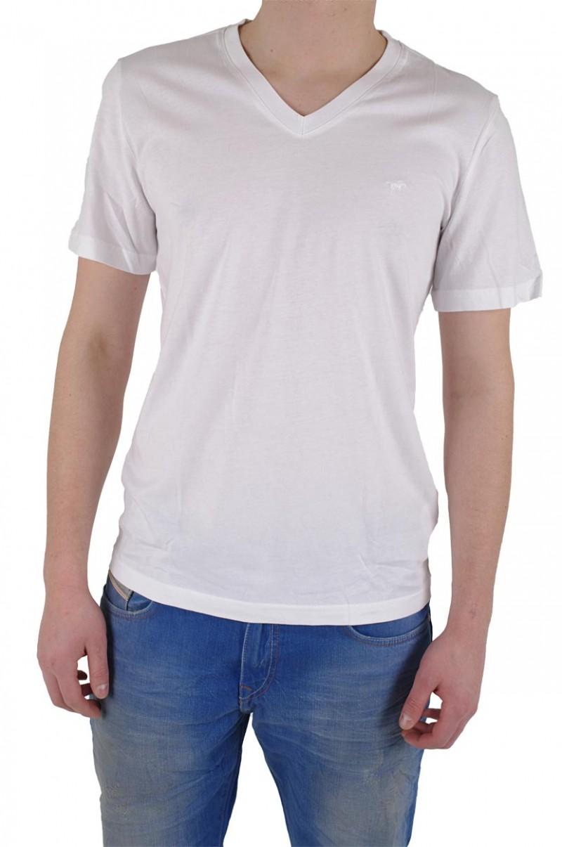 mustang jeans Herren t-shirt v-neck- weiß
