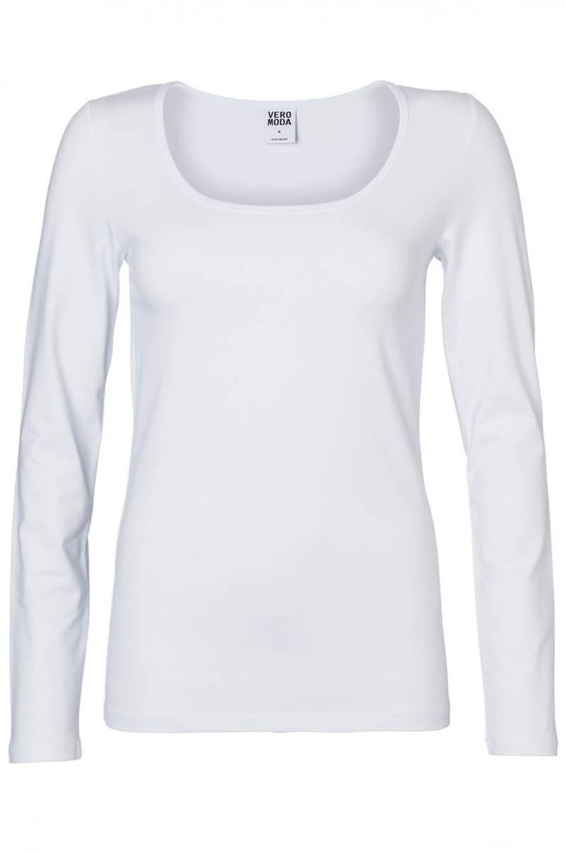 Vero Moda Shirt -  LS u-neck -  weiß
