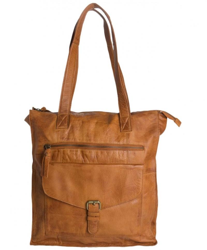 3511788b8124f -15% Pieces Cabby - Shopper Tasche aus Leder in hellbraun ...