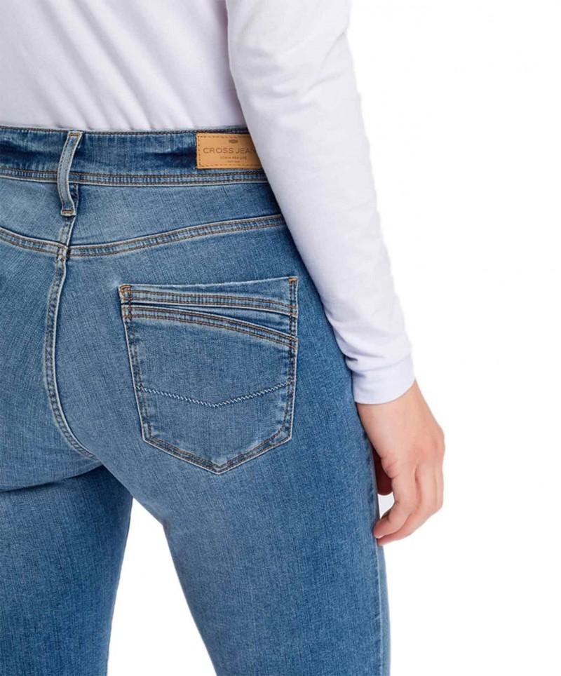 Cross Anya - hellblaue Slim Fit Jeans mit hohem Bund