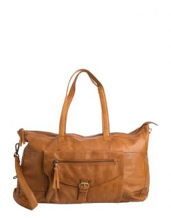 Pieces Cabby - Leder Weekender in Cognac