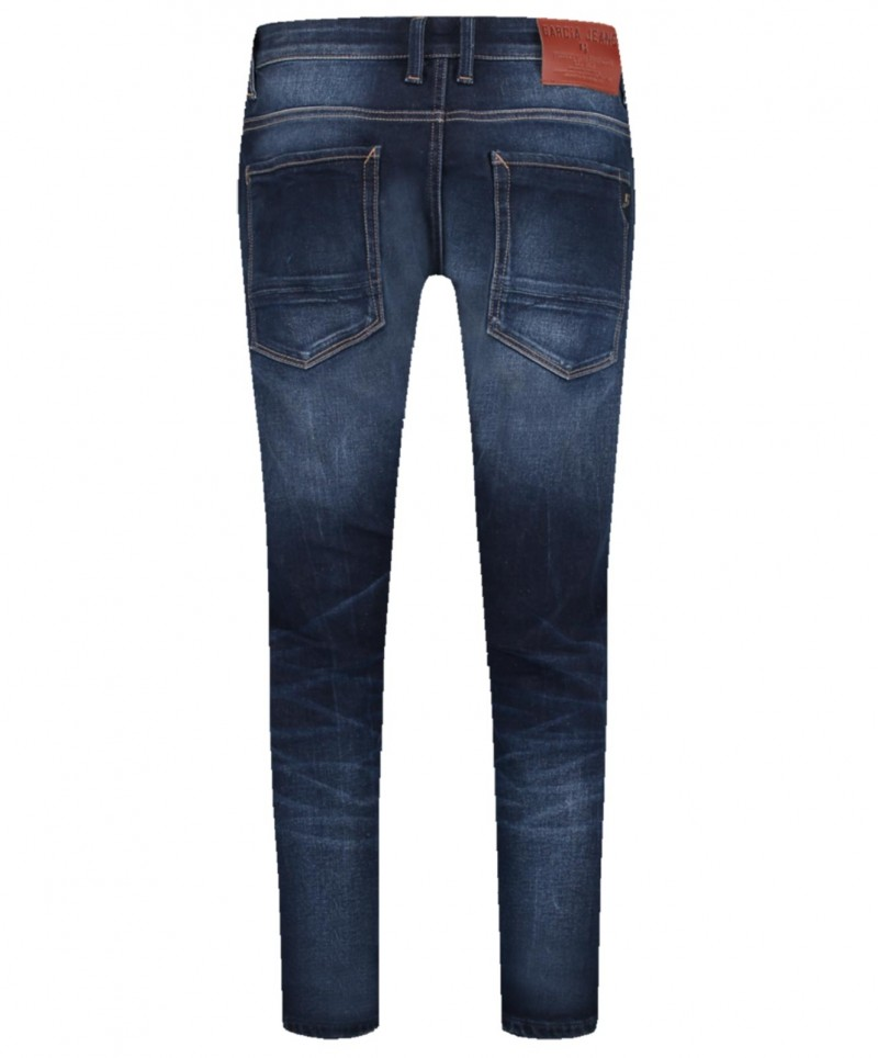 Garcia Russo - Tapered Jeans in dunkelblauem Used Look
