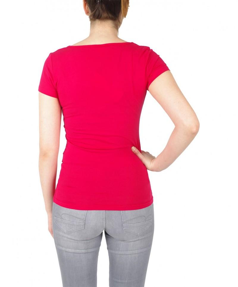 Vero Moda Maxi - rotes Basic T-Shirt mit U-Ausschnitt