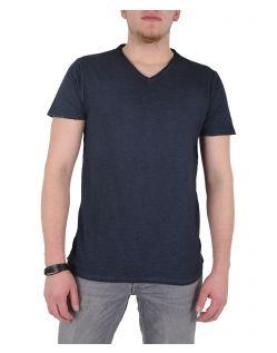GARCIA MARCO - V-Neck T-Shirt - Dunkelblau