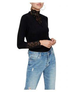 Vero Moda Kiwi - schwarzes Langarmshirt mit Spitze
