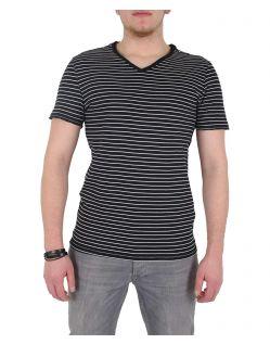 GARCIA MARCO - V-Neck T-Shirt - Schwarz/Gestreift