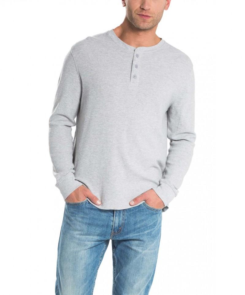 LEVI'S Henley - Langarmshirt - Regular Fit - Grau