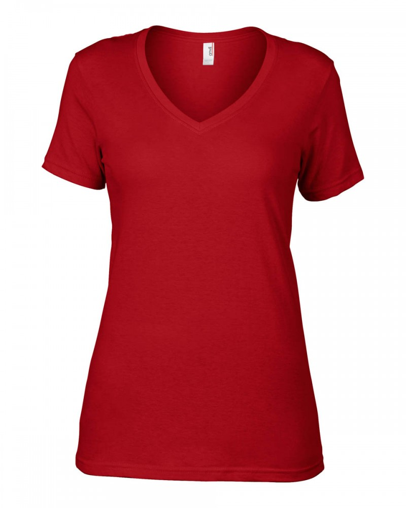 Anvil T-Shirts - Sheer V-Ausschnitt  - Red v