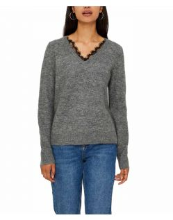 Vero Moda IVA - Pullover mit V Ausschnitt in Strick