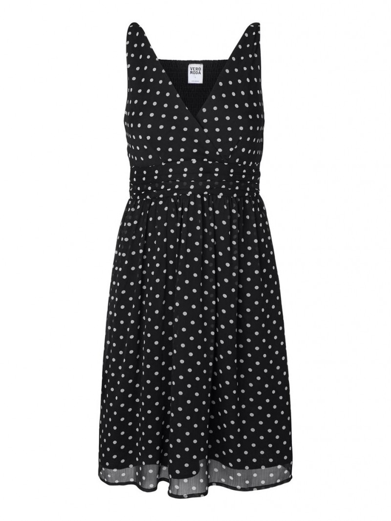 Vero Moda Kleid - Josephine sl above knee - Black White Dots