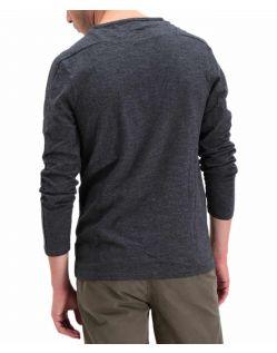 Garcia Paolo - Graues Langarmshirt mit V-Ausschnitt - Hinten