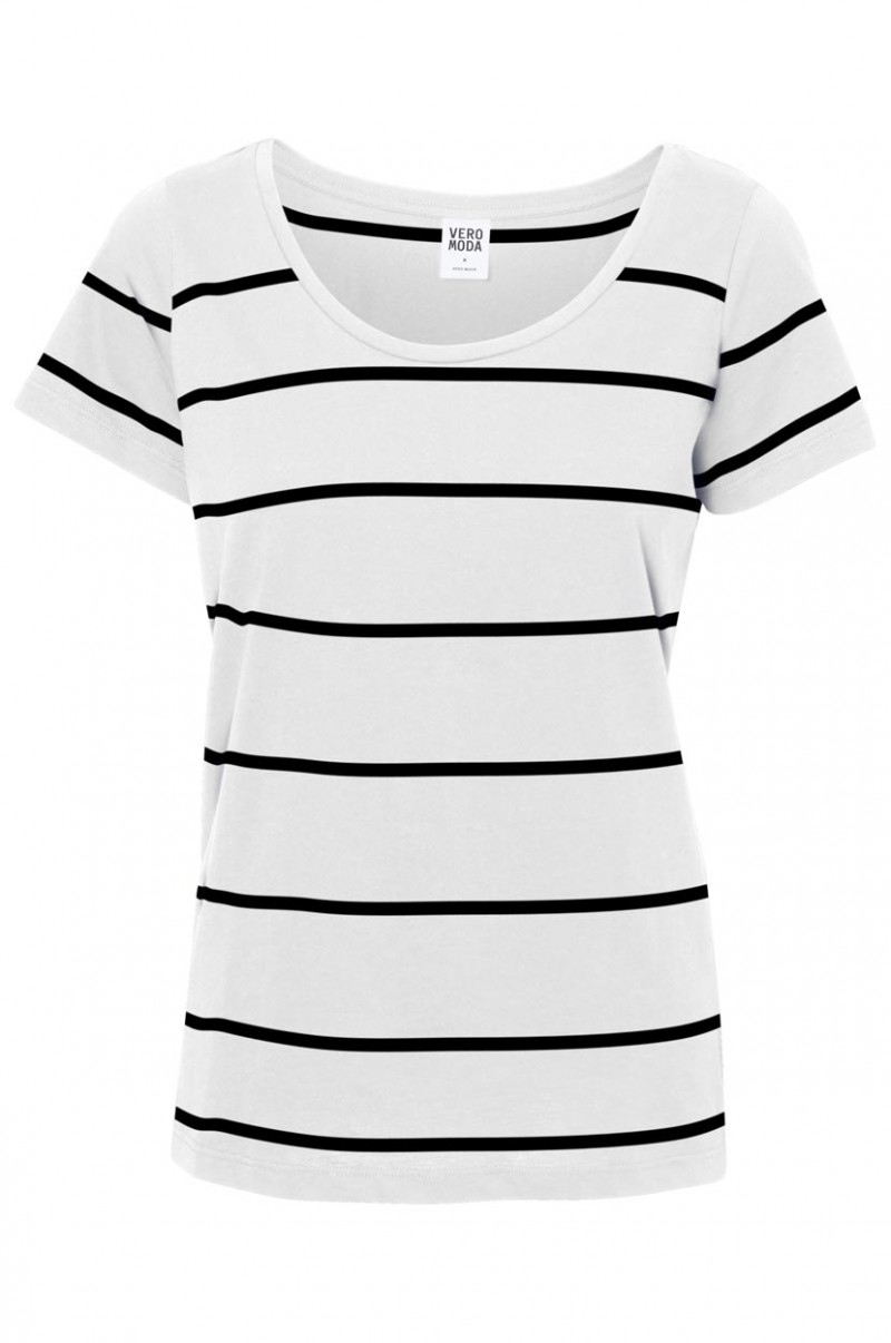 Vero Moda T-Shirt - Molly Striped - Snow White Black