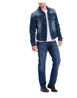 Cross Antonio - dunkelblaue Relaxed Fit Jeans im Used Look