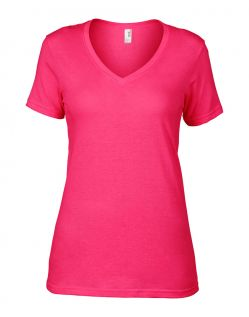 Anvil T-Shirts - Sheer V-Ausschnitt  - Hot Pink