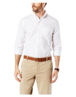 Dockers - Elastisches Oxford-Hemd in Weiß mit schmaler Passform
