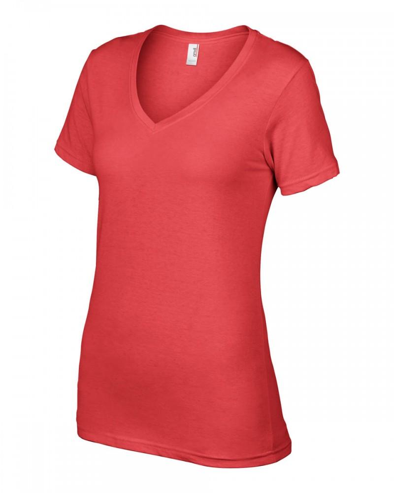 Anvil T-Shirts - Sheer V-Ausschnitt  - Coral v