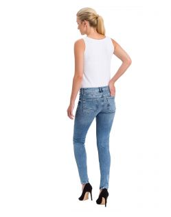 High Waisted Skinny Jeans von Cross in hellem Used-Look - B02