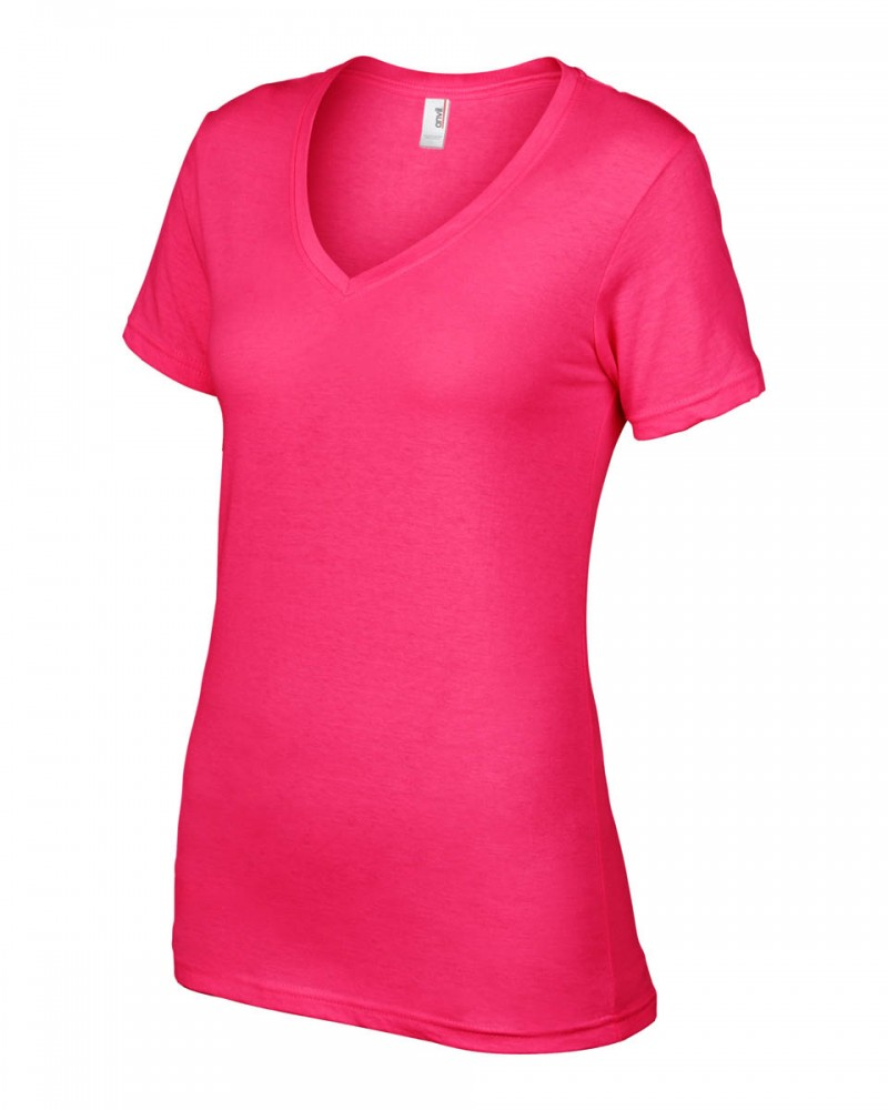 Anvil T-Shirts - Sheer V-Ausschnitt  - Hot Pink v