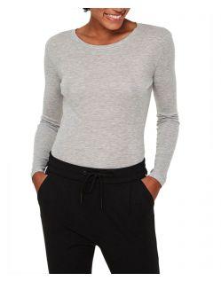 Vero Moda Vita - graues Basic Shirt mit Langarm und Rundhals