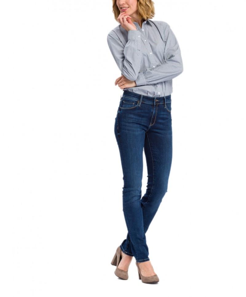 Cross Anya - Hoch sitzende, Slim-Fit-Jeans in dunkelblau