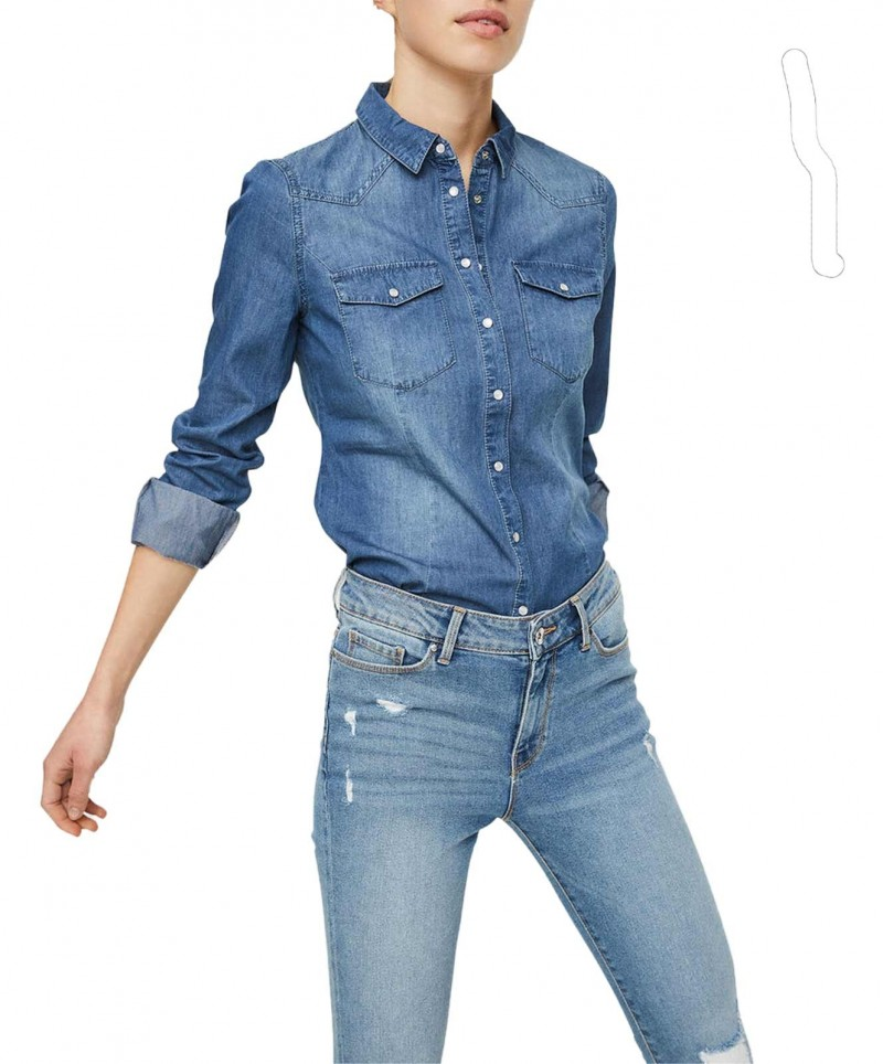 VERO MODA VERA - Jeanshemd - Medium Blue Denim