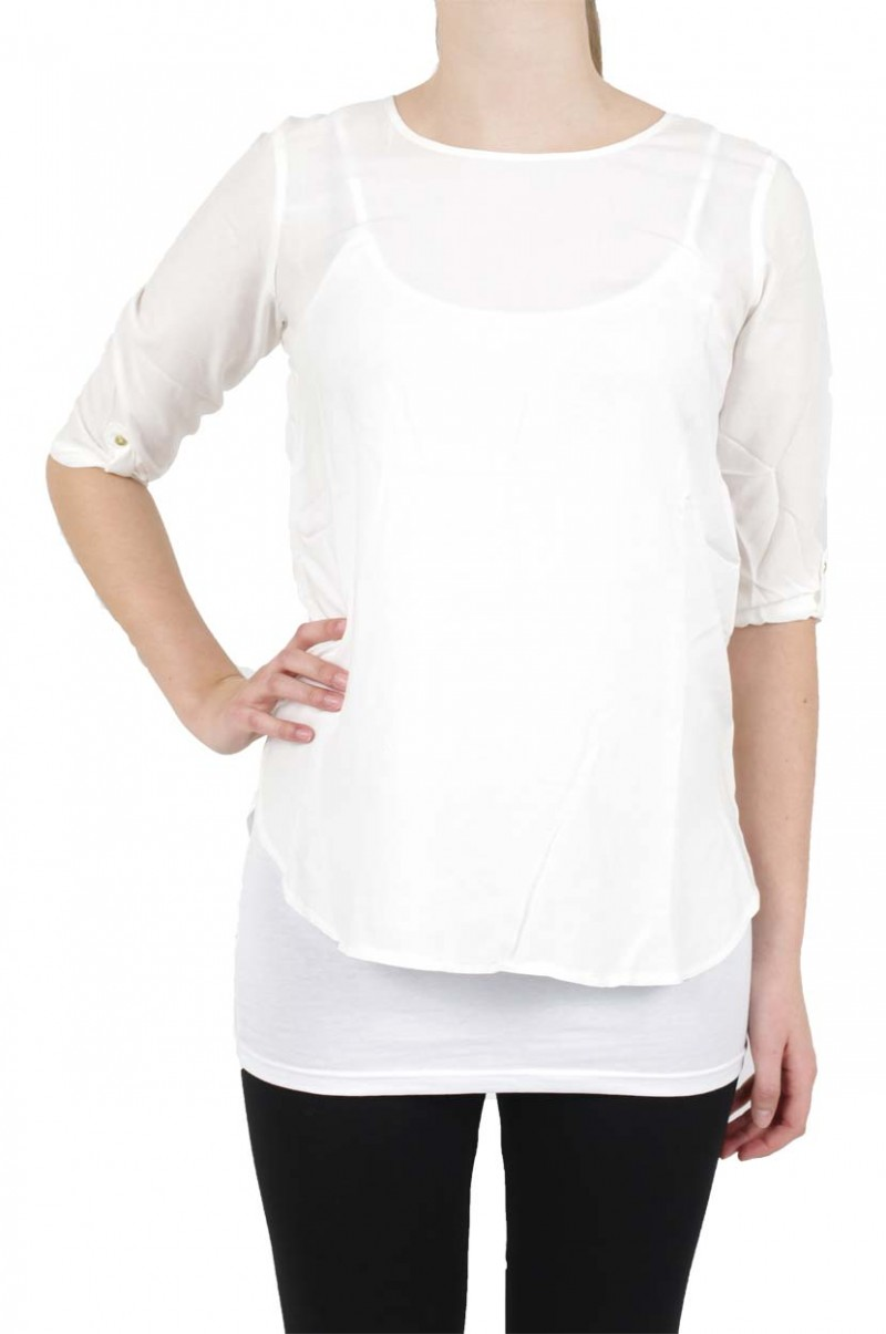 Vero Moda BOCA 3/4 Bluse - Fold Up - Snow White
