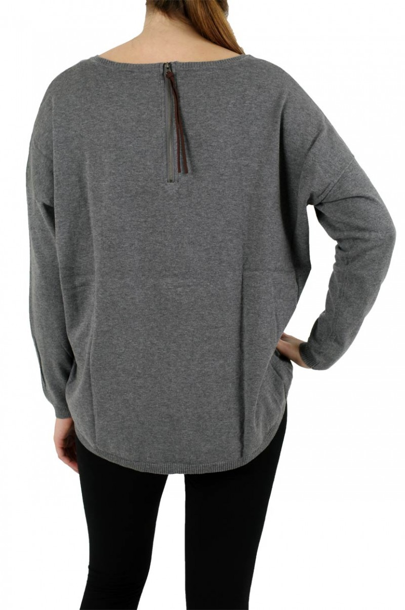Vero Moda Pullover - Macro Zipper Blouse - Medium Grey Melange