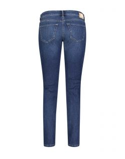 Mac Carrie Pipe - blaue Slim Fit Jeans im Used Look - Hinten