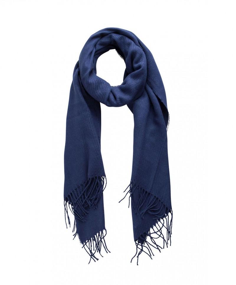 PIECES Kial - Lang Schal mit Fransen - Blau