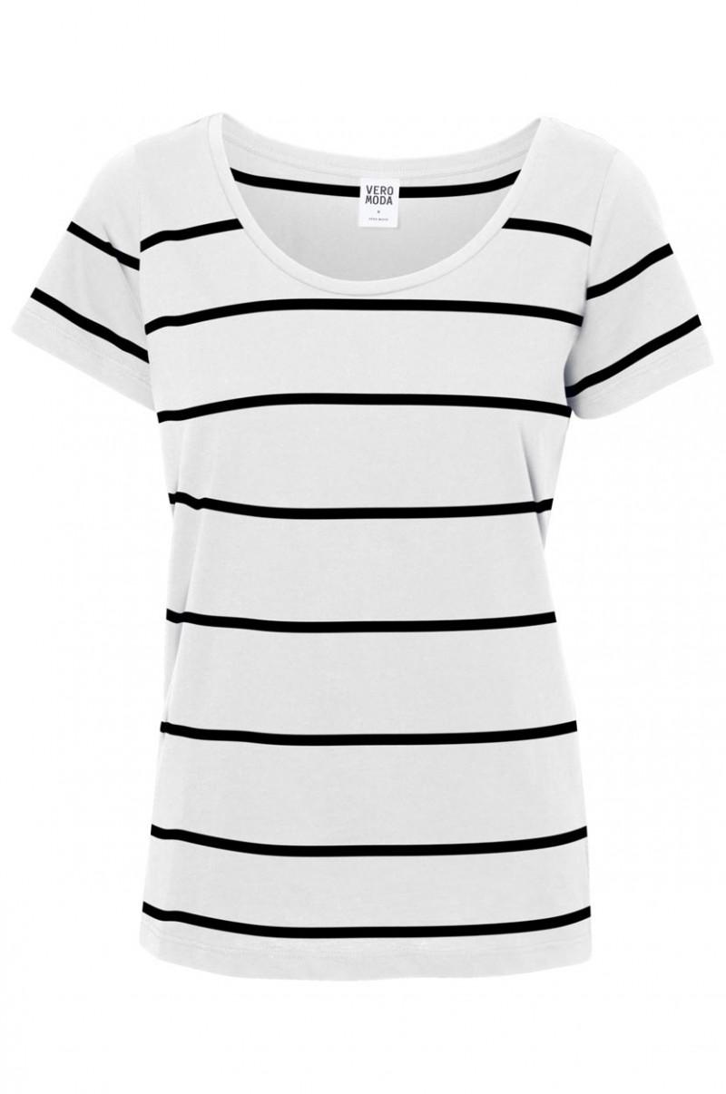 Vero Moda T-Shirt - Molly Striped  - Snow White-Black