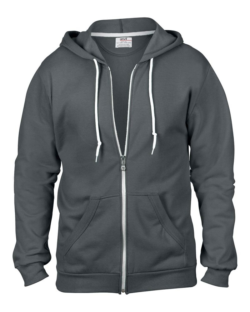 Anvil Kaputzen Sweatjacke Heather Grey