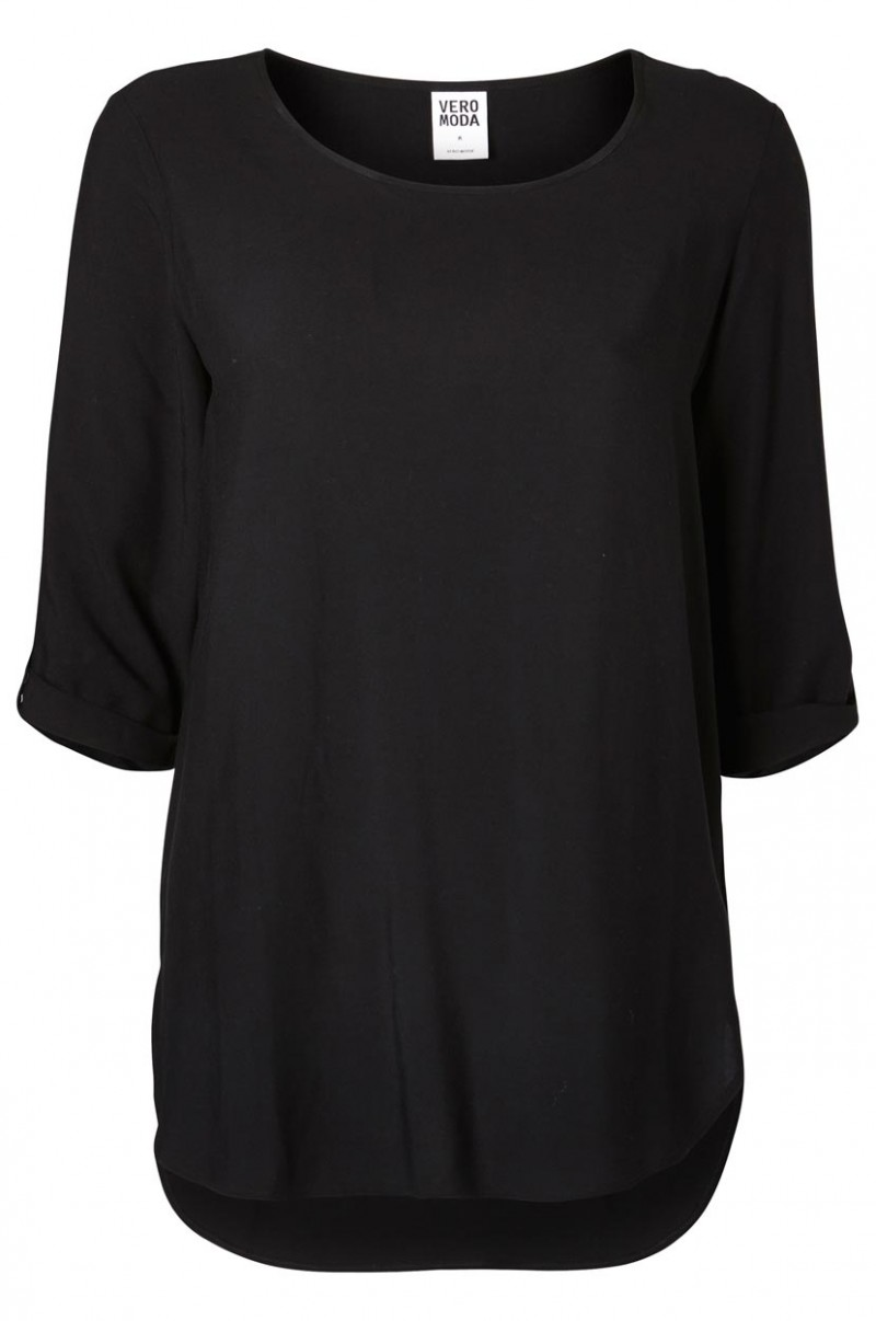 Vero Moda BOCA 3/4 Bluse - Fold Up - Black