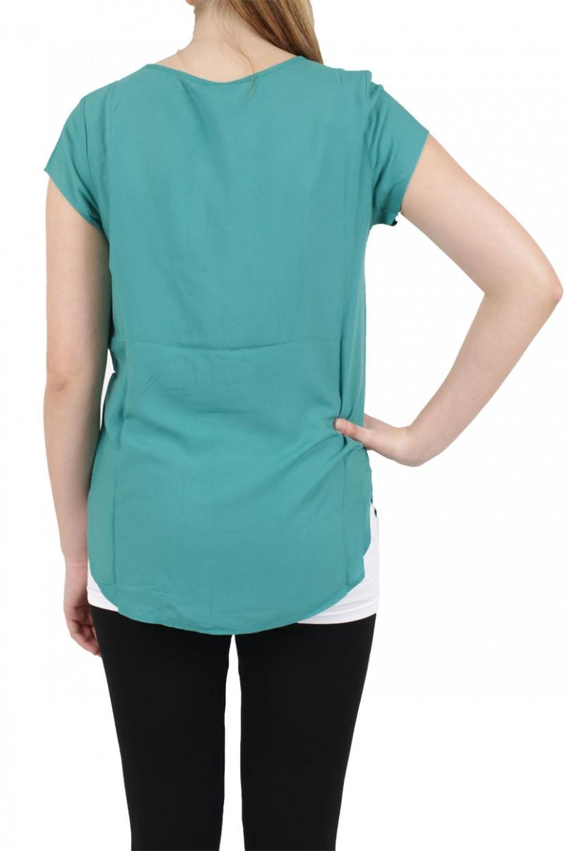 Vero Moda BOCA SS Top - Bluse - Green Blue Slate v