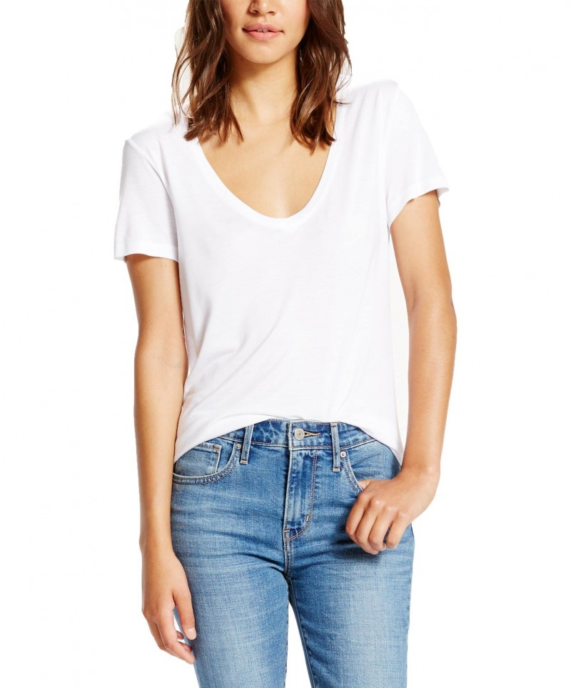 Levi's T-Shirt - Jersey V-Neck - Weiss