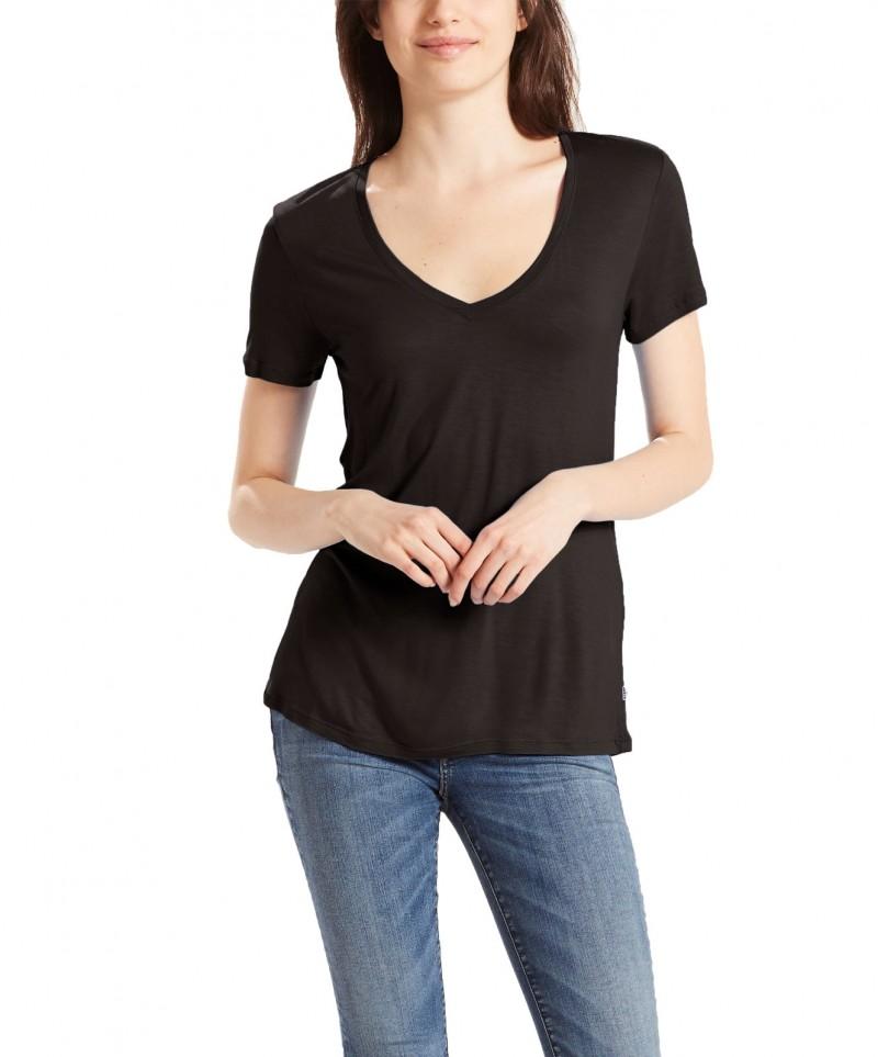 Levi's T-Shirt - Jersey V-Neck - Schwarz