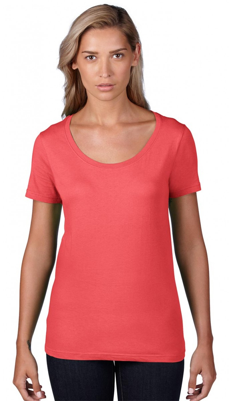 Anvil T-Shirt - Sheer Scoop - Coral