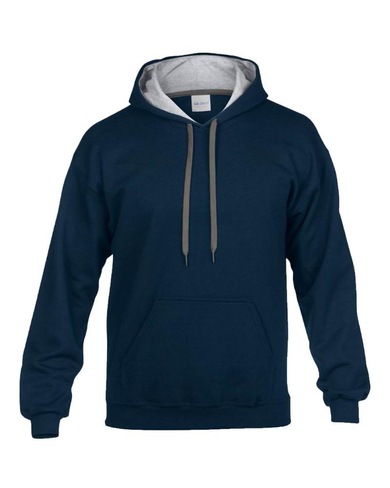 Gildan Sweatshirt - Kontrastkapuze - Navy Grey v
