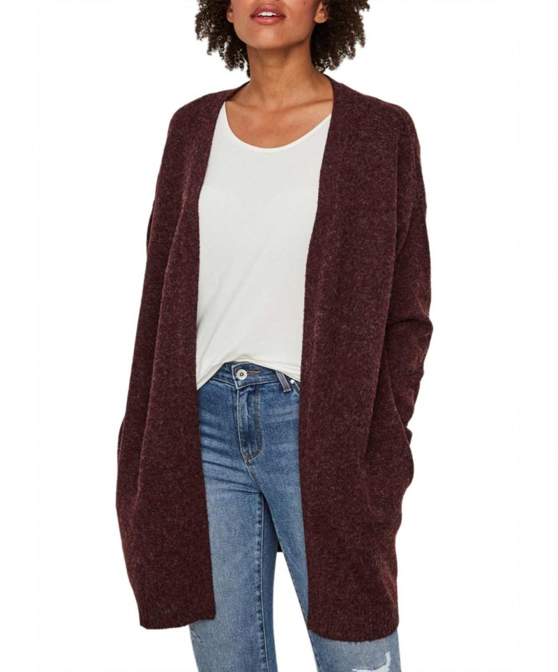 Vero Moda Doffy - Roter Strick Cardigan in Oversize Form
