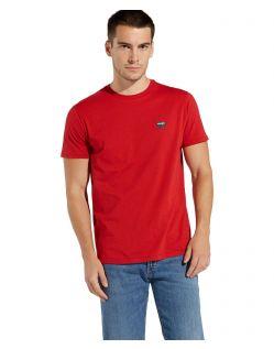 Wrangler - Logo T-Shirt in kräftigem Rot f02