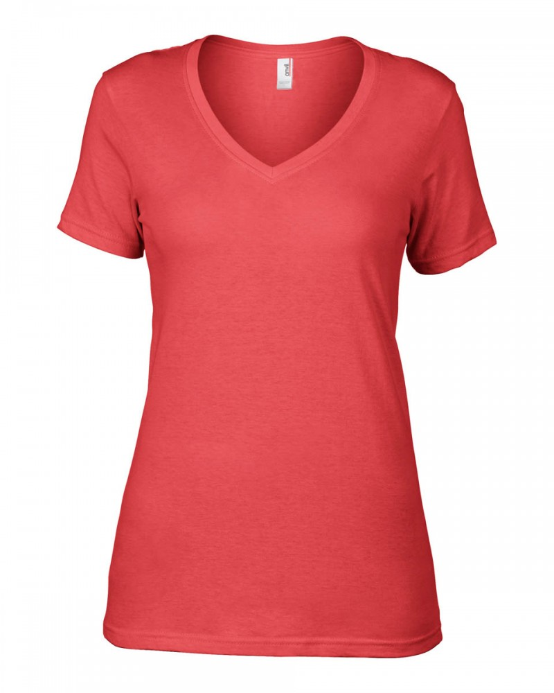 Anvil T-Shirts - Sheer V-Ausschnitt  - Coral v