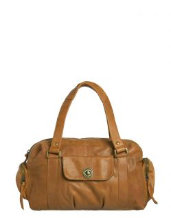 Pieces Royal - Leder Handtasche in Cognac