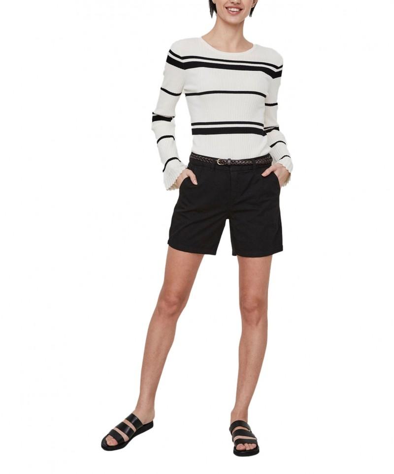 Vero Moda - Chino Short in Schwarz mit Flechtgürtel