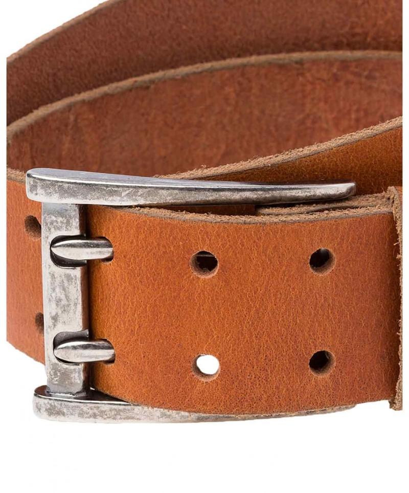 Cross Jeans Gürtel - Doppeldorn Metalschließe - Cognac