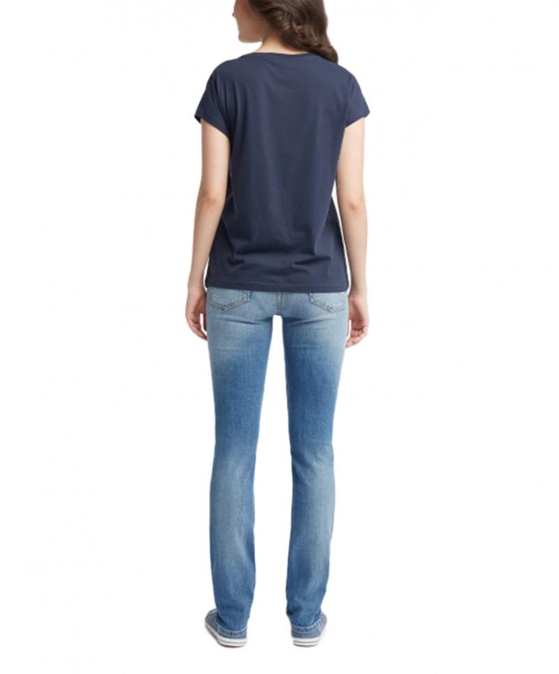 Mustang Tee - blaues Jersey T-Shirt mit Logo Schriftzug