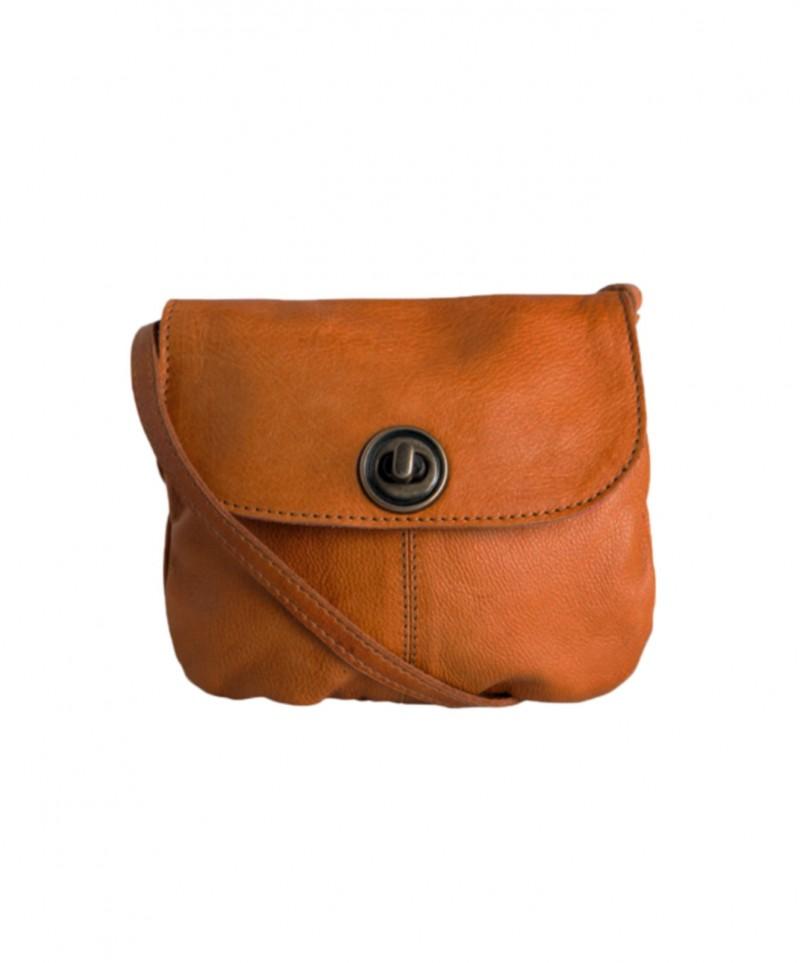 100% authentisch neue Version Geschäft Pieces - Mini Tasche in Cognac aus Glattleder