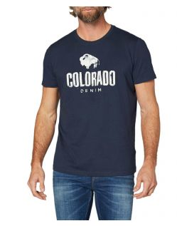 Colorado Cole - blaues T-Shirt mit retro Logo Design